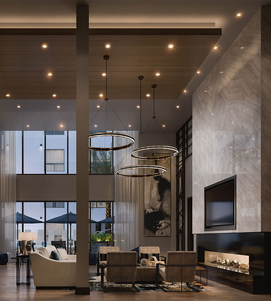 Clubhouse with high ceilings and lounge seating
