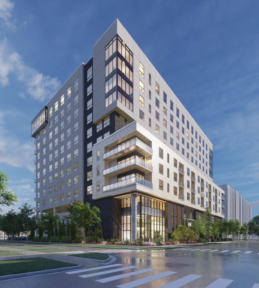 Ellison Heights luxury high-rise apartment exterior