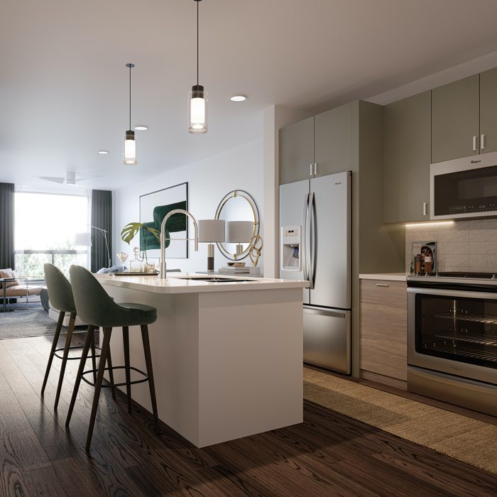 Large, open kitchen with an island
