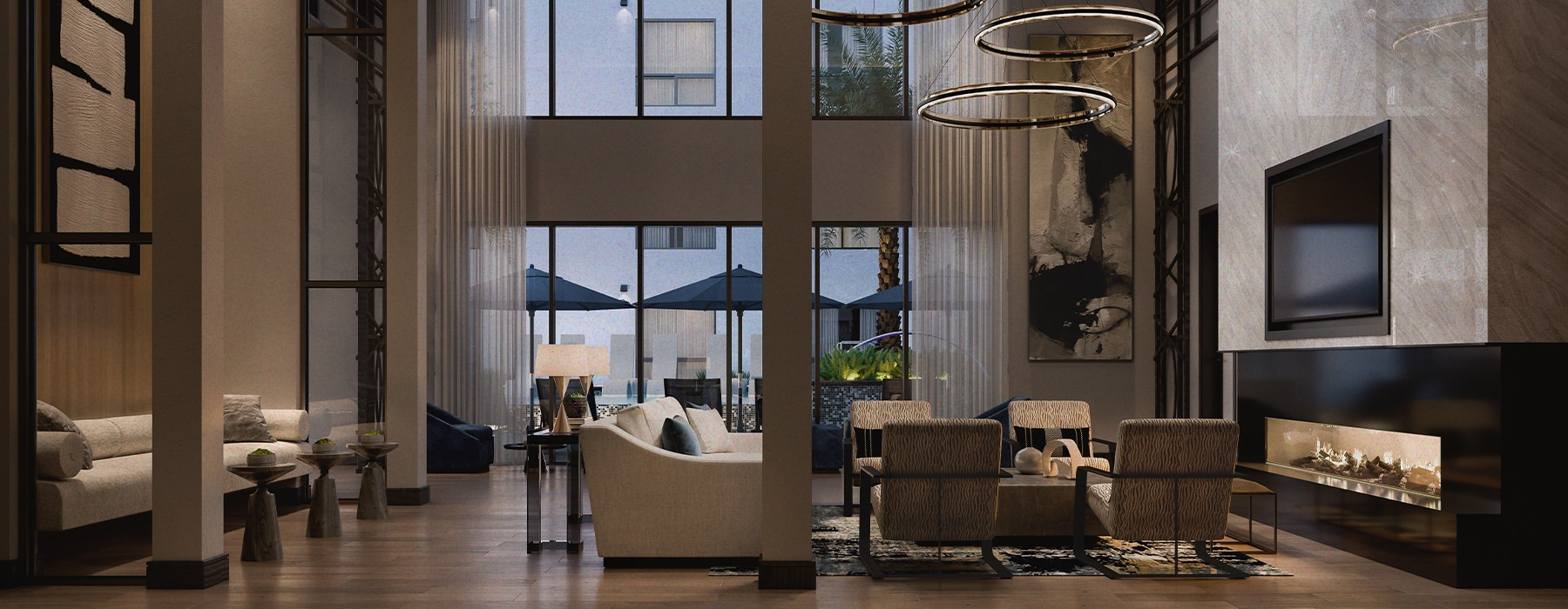 Double height luxury clubhouse with lounge seating