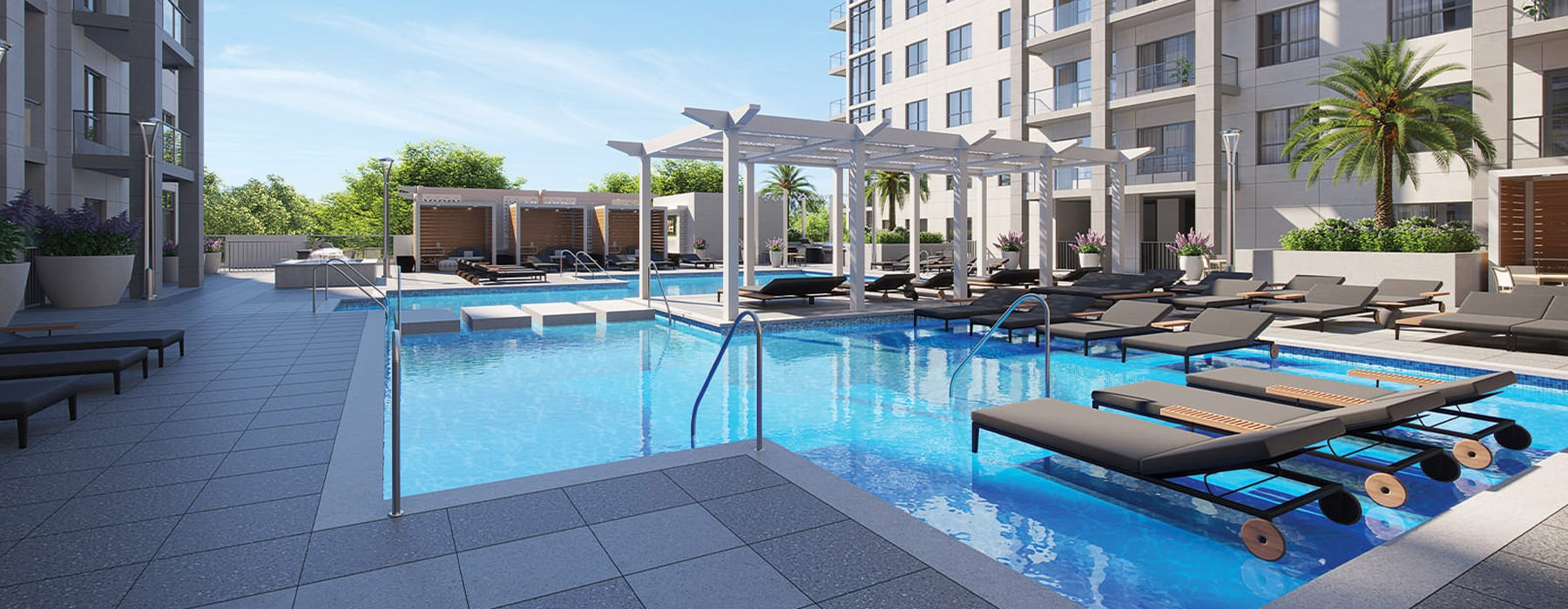 Large pool rendering with lounging chairs and umbrella topped tables and chairs