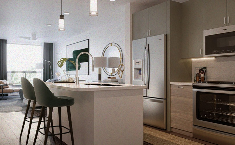 Kitchen with a island and ample cabinet space